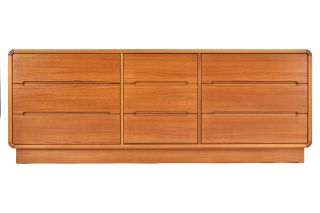 Mid Centry Modern Teak Triple Dresser Credenza photo
