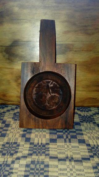 Vintage Primitive Single Small Cookie Butter Wood Mold Primitive Paddle Aafa photo