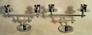 2 Vintage Chrome Art Deco Machine Age Modernist Two Arm Geometric Candle Holders photo