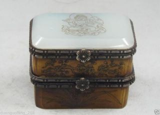 Vintage Handmade Old Bone Jade Carving Buddha & Bird Double Jewelry Box Nrr094 photo