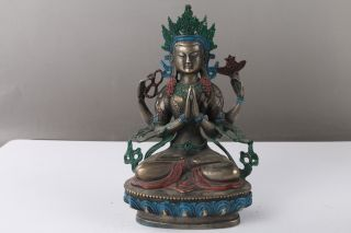 Exquisite Chinese Hand Carving Cloisonne Buddhism Statue H1042 photo