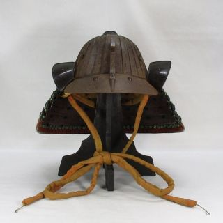 B173: Real Old High - Class Japanese Samurai Iron Armor Helmet Kabuto W/many Line photo