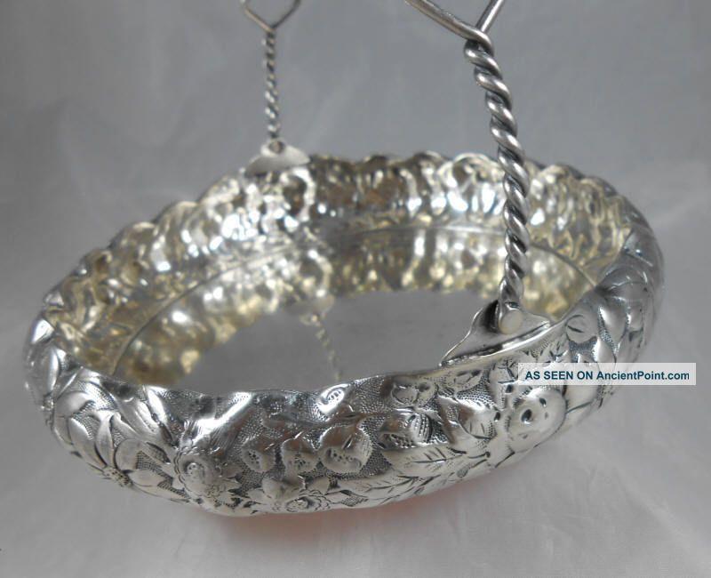 Simpson,  Hall & Miller Quadruple Silver - Plate Floral Bridal Bon - Bon Basket Baskets photo