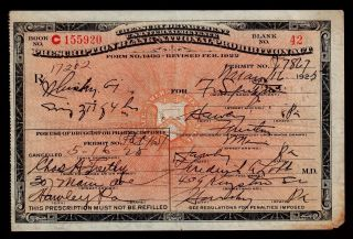 Prohibition Prescription Whiskey Antique 5/16/25 Doctor Nurse Pharmacist Gift Pa photo