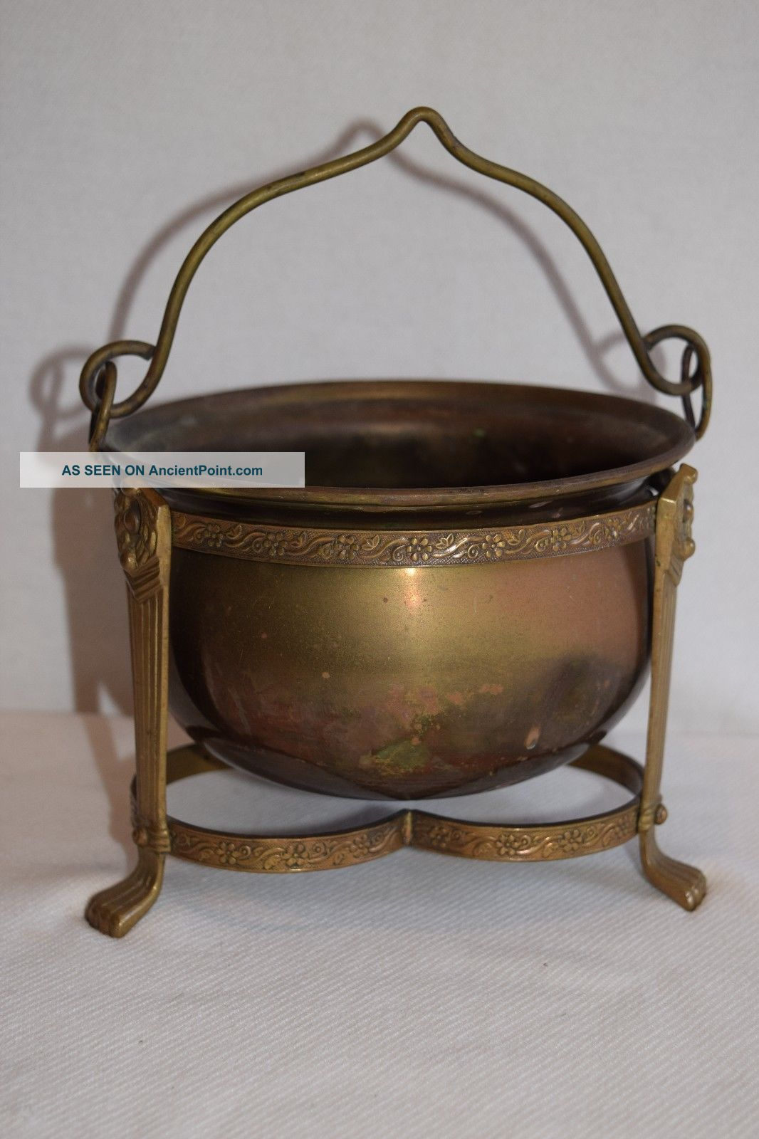 Brass Or Copper Caldron On A Ornate Stand With Handle Made In India Hearth Ware photo