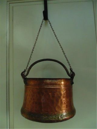 Vtg Antique Hammered Copper Hanging Pot Hand Forged Iron Handle Med 5 Quart photo