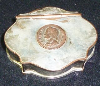 Antuiqe Georgian Sheffield Plate Snuff Box With Inset George Ii Coin.  Circa 1790 photo