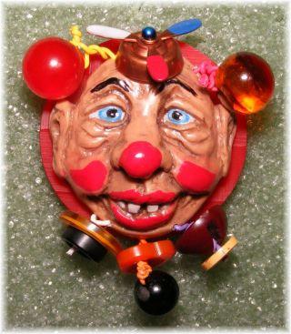 Rare Mechanical Moving Propeller Hat Clown Bakelite Juggling Balls Studio Button photo