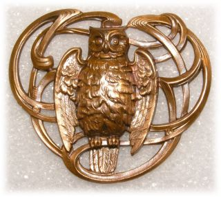 Art Nouveau French Casting Button Of A Powerful Owl W Organic Flowing Ribbons photo