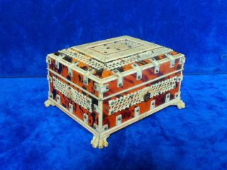 Antique Vizagapatam Anglo Indian Faux Tortoise Shell & Bone Trinket Box Chest photo
