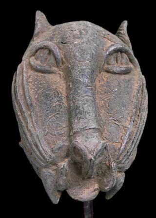 Old Tribal Benin Bronze Leopard Head Nigeria Fes1342 photo