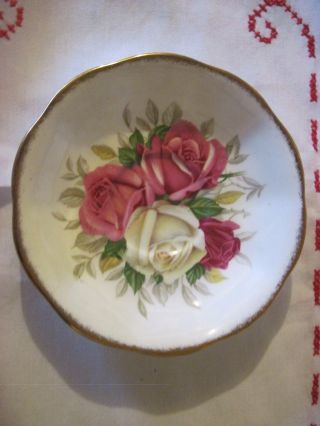 Vntg Lady Sylvia Queen Anne Pink & White Roses Fine Bone China Saucer photo