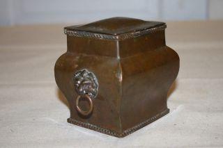 Sarcophagus Antique Copper Box Tin Lined Lion Mask Bust Handles Herringbone photo