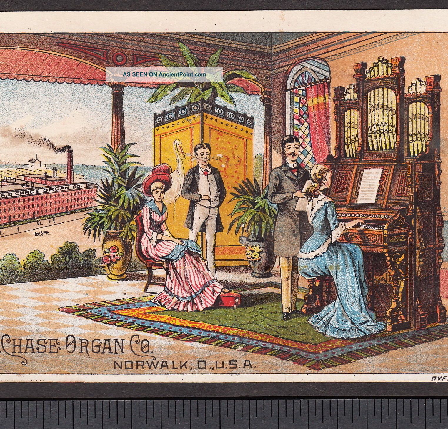 Factory View Chase Organ Co Norwalk Ohio 1800 ' S Victorian Advertising Trade Card Keyboard photo