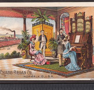 Factory View Chase Organ Co Norwalk Ohio 1800 ' S Victorian Advertising Trade Card photo