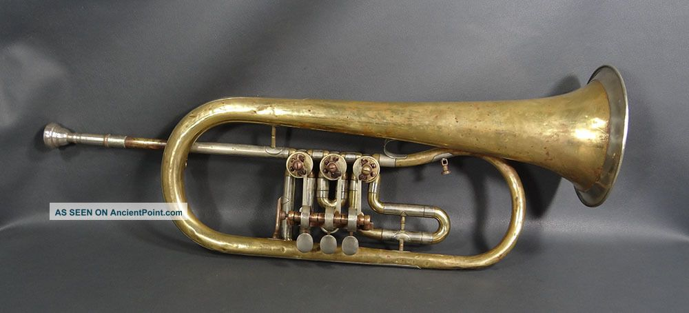 Antique Brass Musical Instrument Josef Lidl Brno F Rotary Trumpet 3 Valves Horn Brass photo