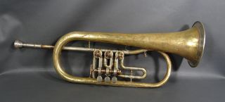 Antique Brass Musical Instrument Josef Lidl Brno F Rotary Trumpet 3 Valves Horn photo