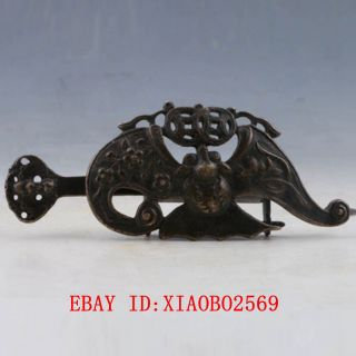 Old Handwork China Bronze Usable Bat Shaped Lock And Key Xz023 photo