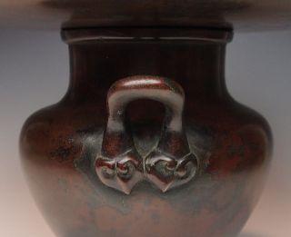 Antique Bronze Ikebana Vase Reishi Meiji Usubata Of Immortality Lingzhi Japanese photo