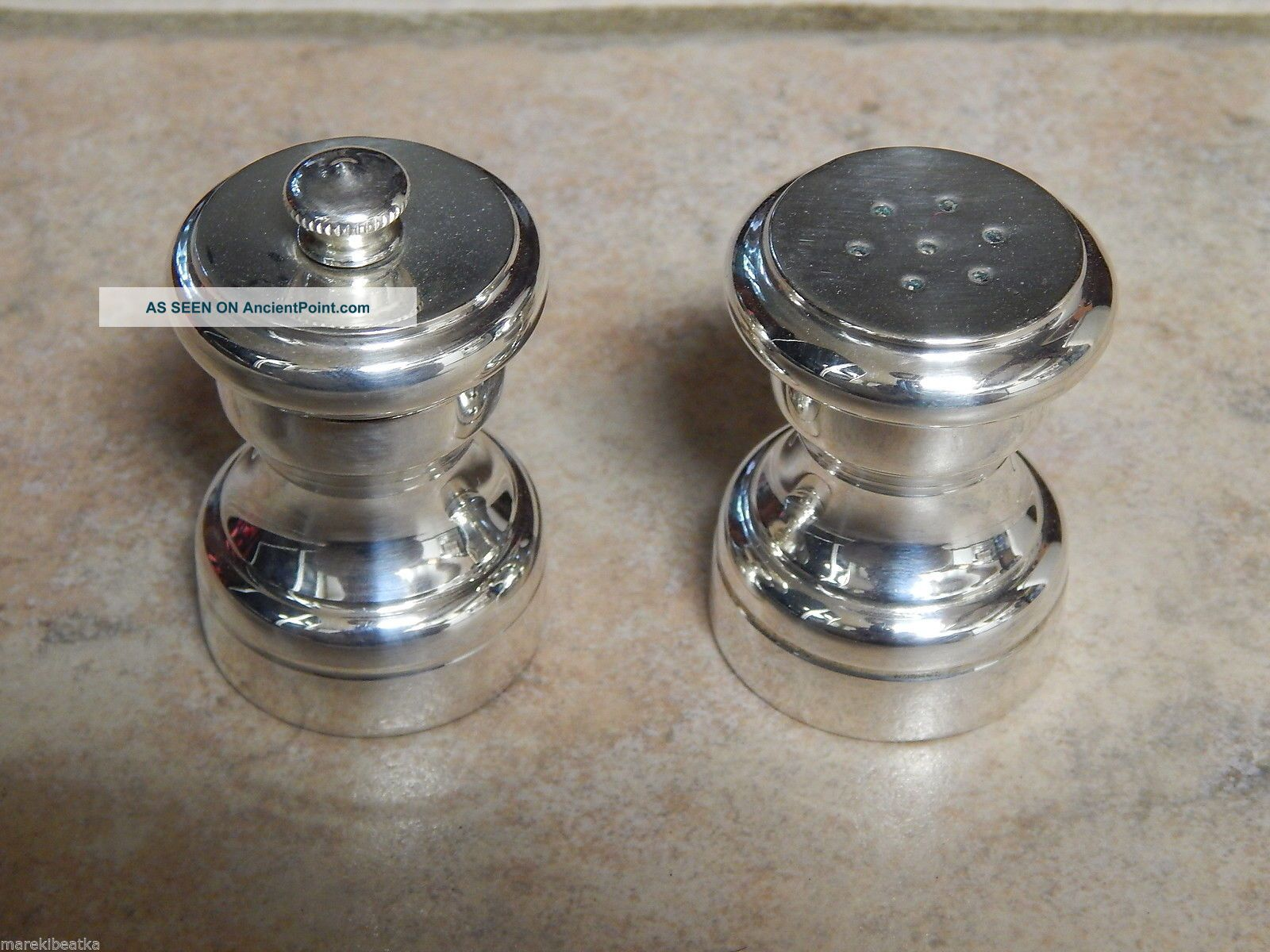 Vtg Italian Sterling Silver Salt Shaker And Pepper Grinder Salt & Pepper Shakers photo