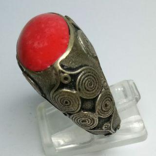 Rare Old Roman Unique Silver Ring Coral Stone Ring photo