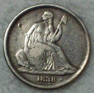 1838 O Seated Liberty Dime Authentic Silver Rare No Stars Type Orleans Coin photo