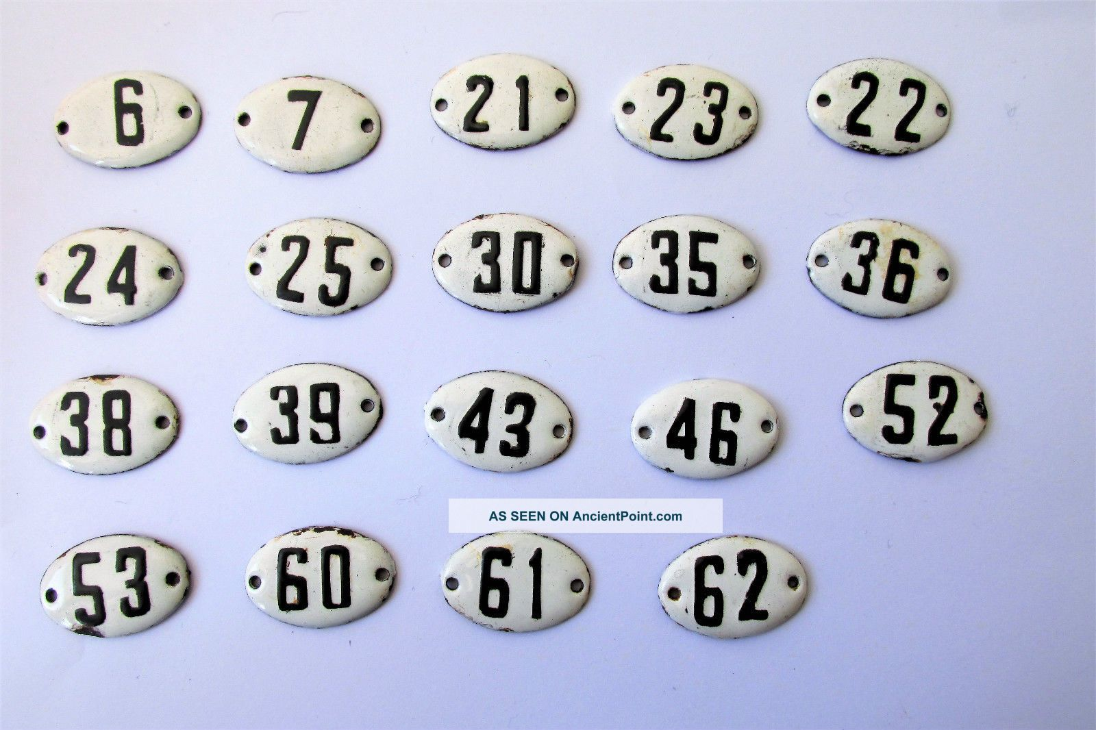 Old Enamel Porcelain Tin Sign Plate Numbers 6,  7,  21,  22,  23,  24,  25,  And Other Signs photo