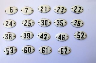 Old Enamel Porcelain Tin Sign Plate Numbers 6,  7,  21,  22,  23,  24,  25,  And Other photo