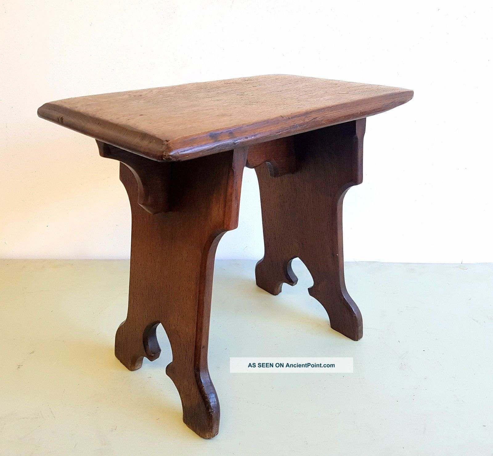 Victorian Gothic Arts And Crafts Oak Stool 1800-1899 photo