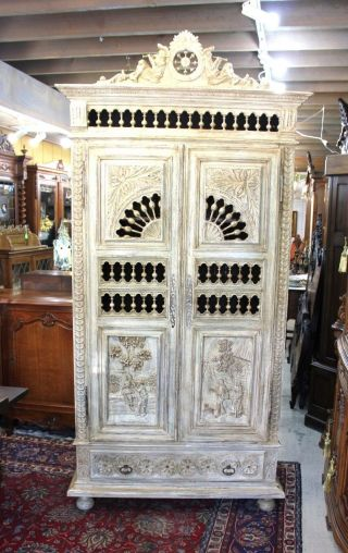 Antique White Carved French Oak Brittany Painted Armoire. photo