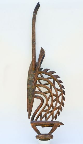 African Bambara Bamana Headdress Chiwara Antelope Carved Wood Mali Tribal Art photo