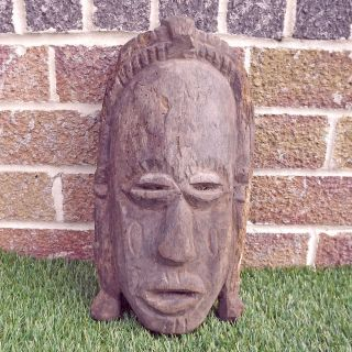 Vintage Hand Carved Wooden African Mask - Unidentified Ethnic Carving photo