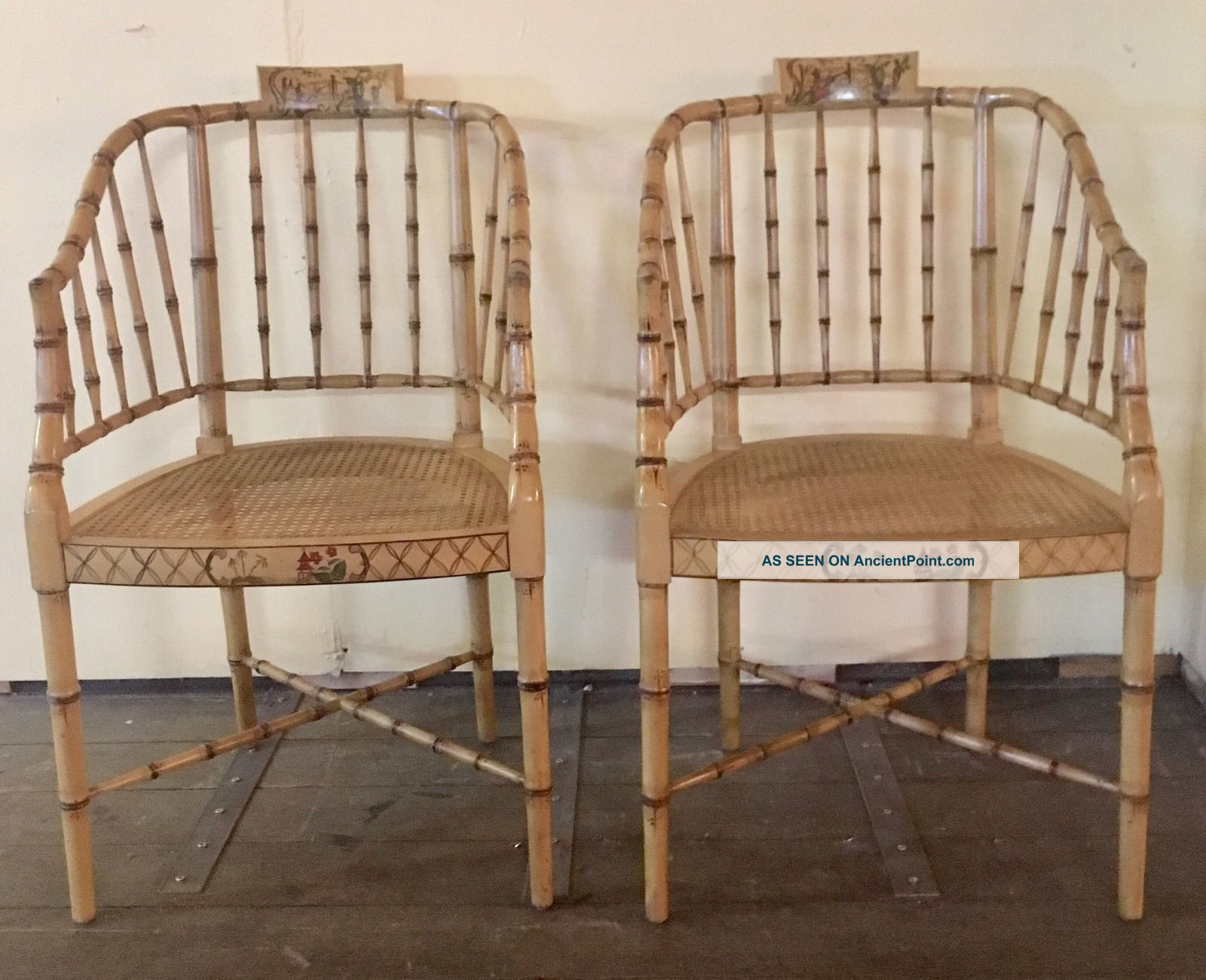 Pair Vintage Faux Bamboo Barrel Back Chinoiserie Painted Chairs Post-1950 photo