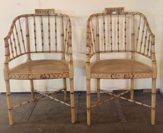 Pair Vintage Faux Bamboo Barrel Back Chinoiserie Painted Chairs photo