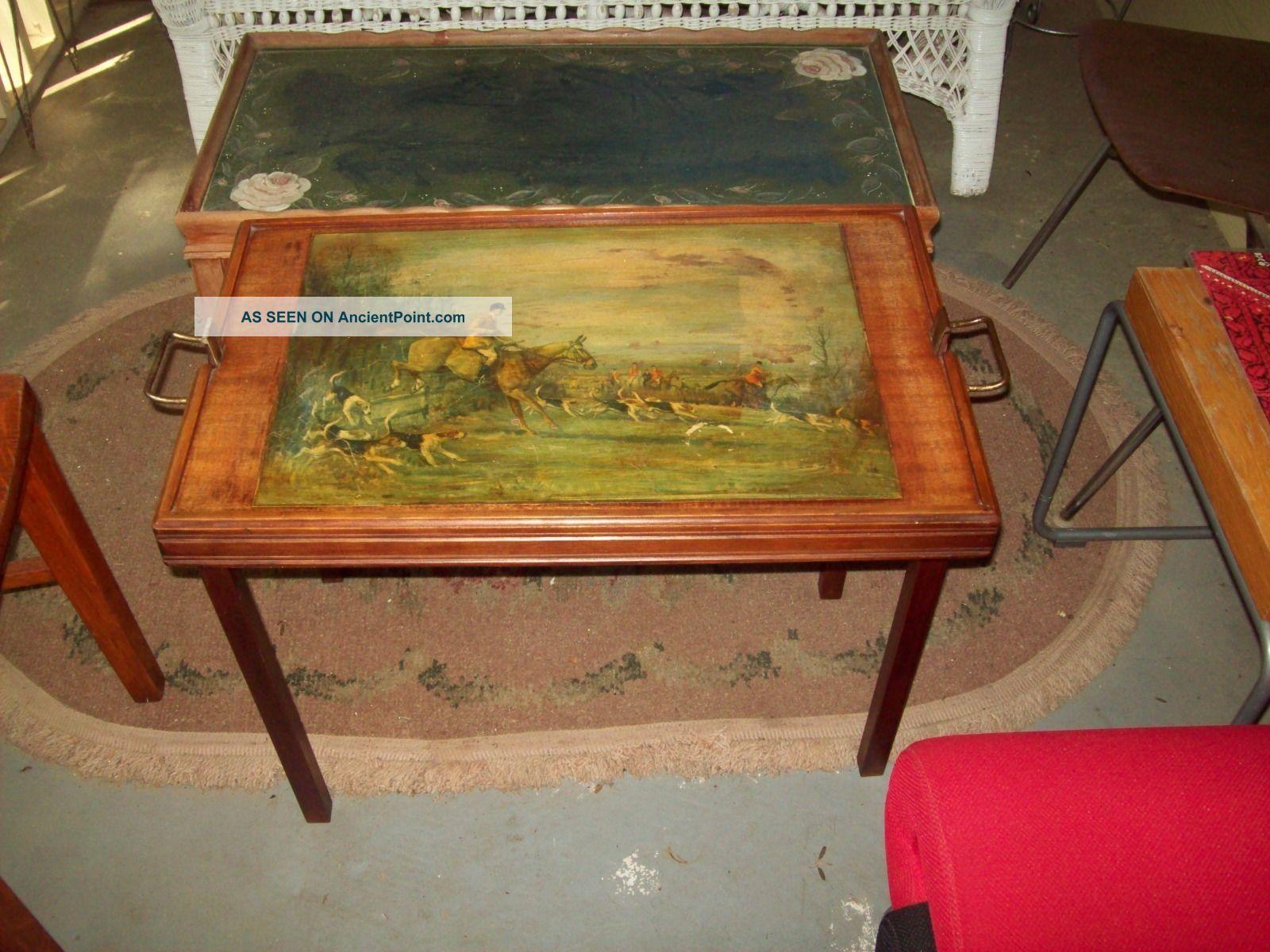 Vintage Ferguson Bros Fox Hunting Scene Folding Butler Tray Table With Handles. 1900-1950 photo