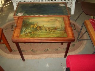 Vintage Ferguson Bros Fox Hunting Scene Folding Butler Tray Table With Handles. photo