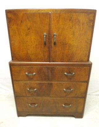Antique Art Deco Radial Front Top Walnut Highboy Chest Of Drawers Dresser Hi Boy photo