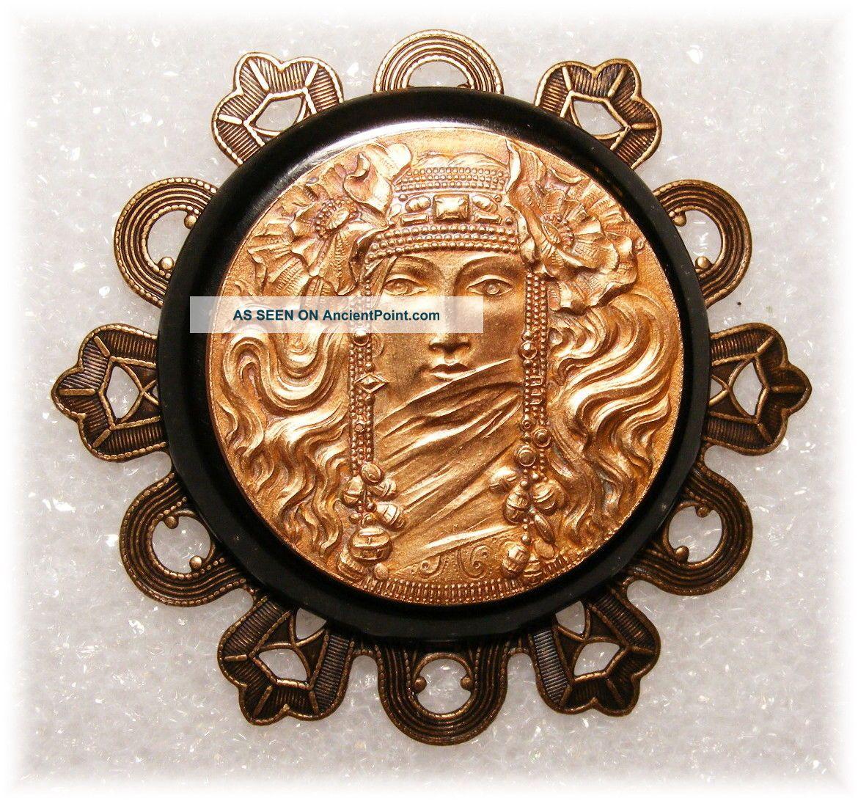 Art Nouveau Mucha Bohemian Goddess Poppies & Jewels Brass Bakelite Studio Button Buttons photo