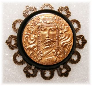 Art Nouveau Mucha Bohemian Goddess Poppies & Jewels Brass Bakelite Studio Button photo