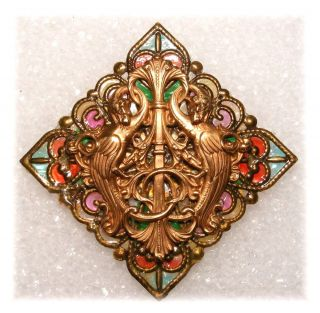 Majestic Brass Beast Double Dragons Filigree Colorful Window Pane Studio Button photo