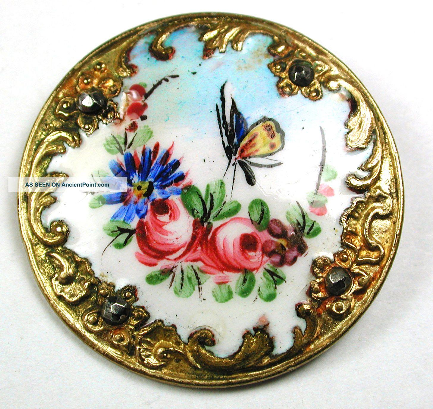 Antique Enamel Button Butterfly & Flowers W/ Fancy Border & Cut Steel Accents Buttons photo