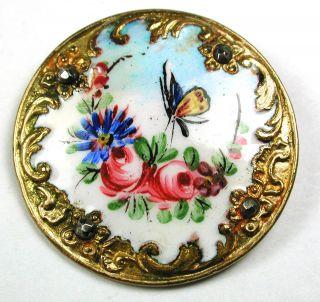 Antique Enamel Button Butterfly & Flowers W/ Fancy Border & Cut Steel Accents photo