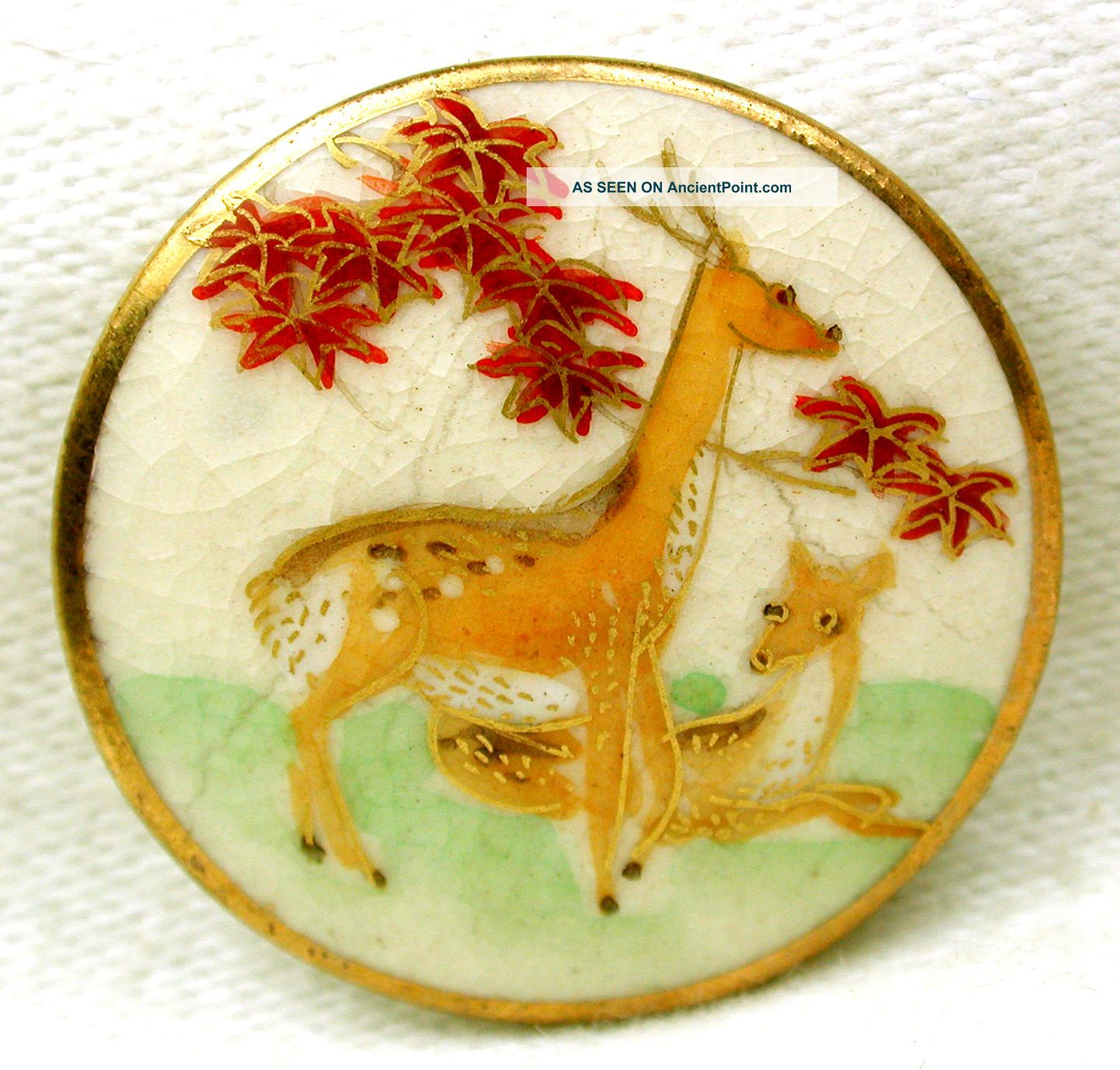 Vintage Satsuma Buttons 2 Deer Pictorial W/ Gold Accents - 1 & 1/16