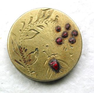 Antique Brass Button Etched Insect & Flowers W/ Ruby Enamel Accents - 5/8
