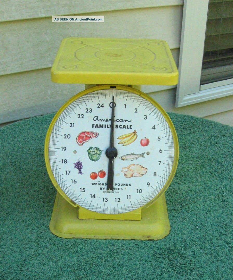 Vintage 1950 ' S Yellow American Family Metal Scale With Fruit,  Chicken,  Fish Scales photo
