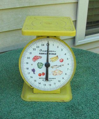 Vintage 1950 ' S Yellow American Family Metal Scale With Fruit,  Chicken,  Fish photo