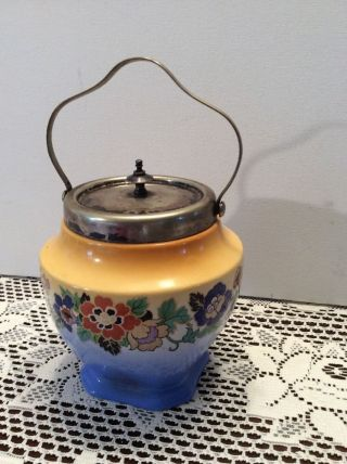 Antique Procelain & Silverplate Cracker Or Biscuit Jar With Lid & Handle England photo