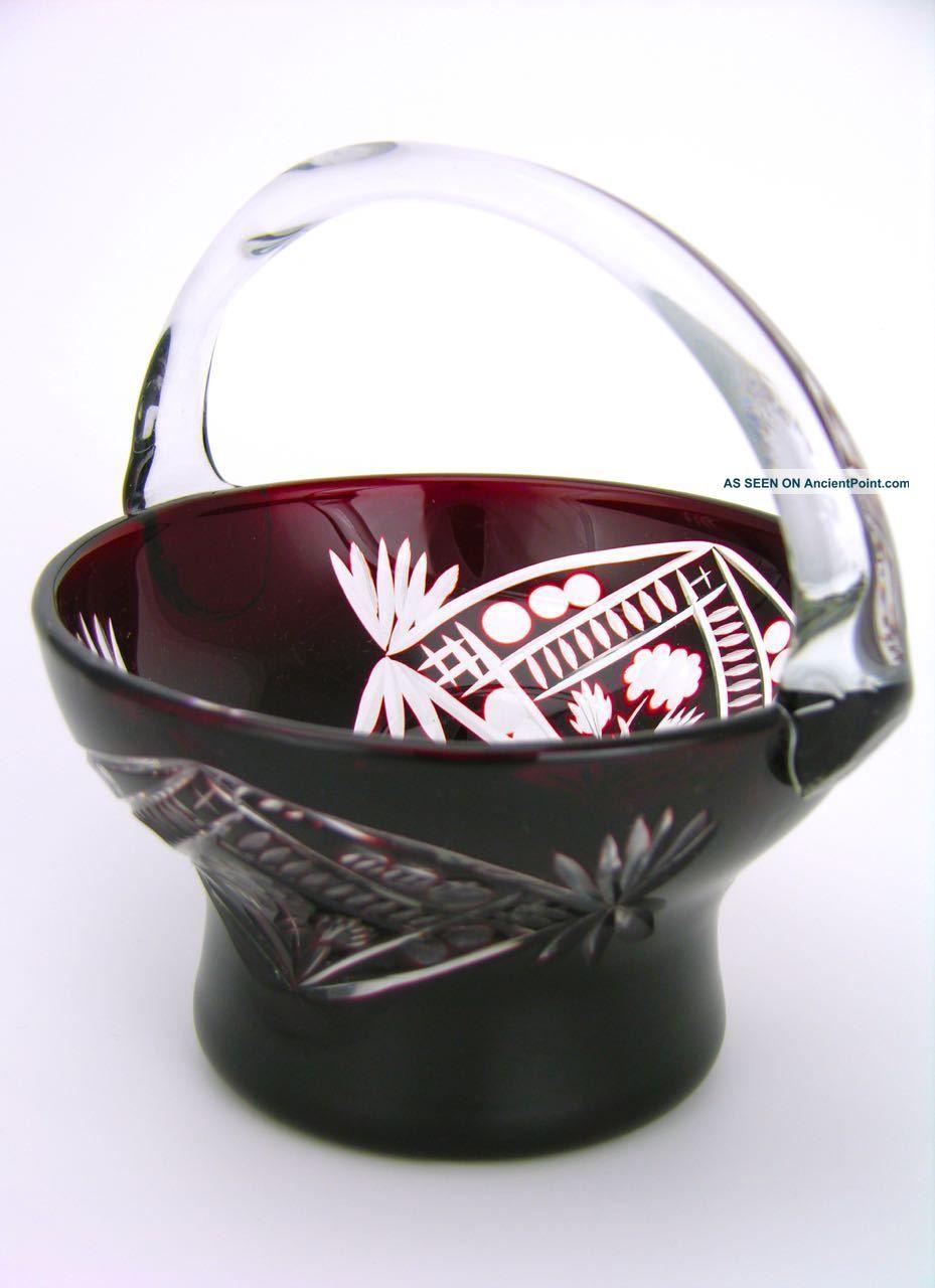 Vintage Ruby Red Cut Glass Basket Vase Bowl Bohemian 1950s Vases photo