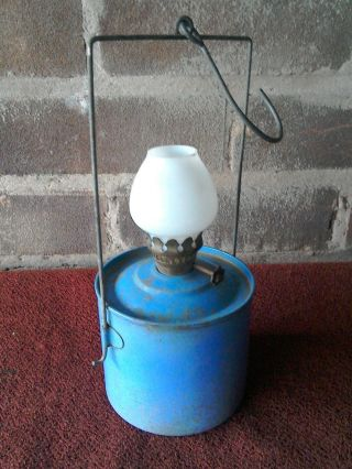 Vintage Paraffin Outhouse Lamp Glass Shade Hanging Greenhouse Camping Shed Light photo