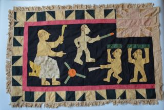African Tribal Art Good Old Pre 1957 Fante Asafo Flag photo